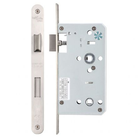 Vier ZDL7860RSS Din Standard Bathroom Lock 60mm Radius Forend Satin Stainless Steel